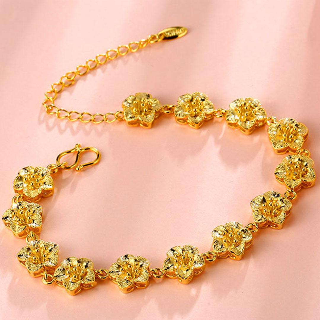 Perhiasan Gelang Tangan Wanita Bersalut Emas Saduran Bunga ...